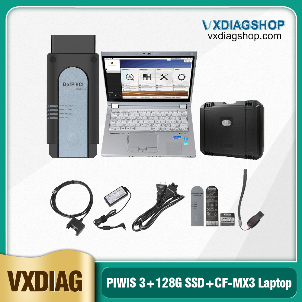 OEM Porsche PIWIS 3 Tester III Diagnostic Tool V39.500.025 PT3G with 128G SSD with Panasonic CF-MX3 Laptop
